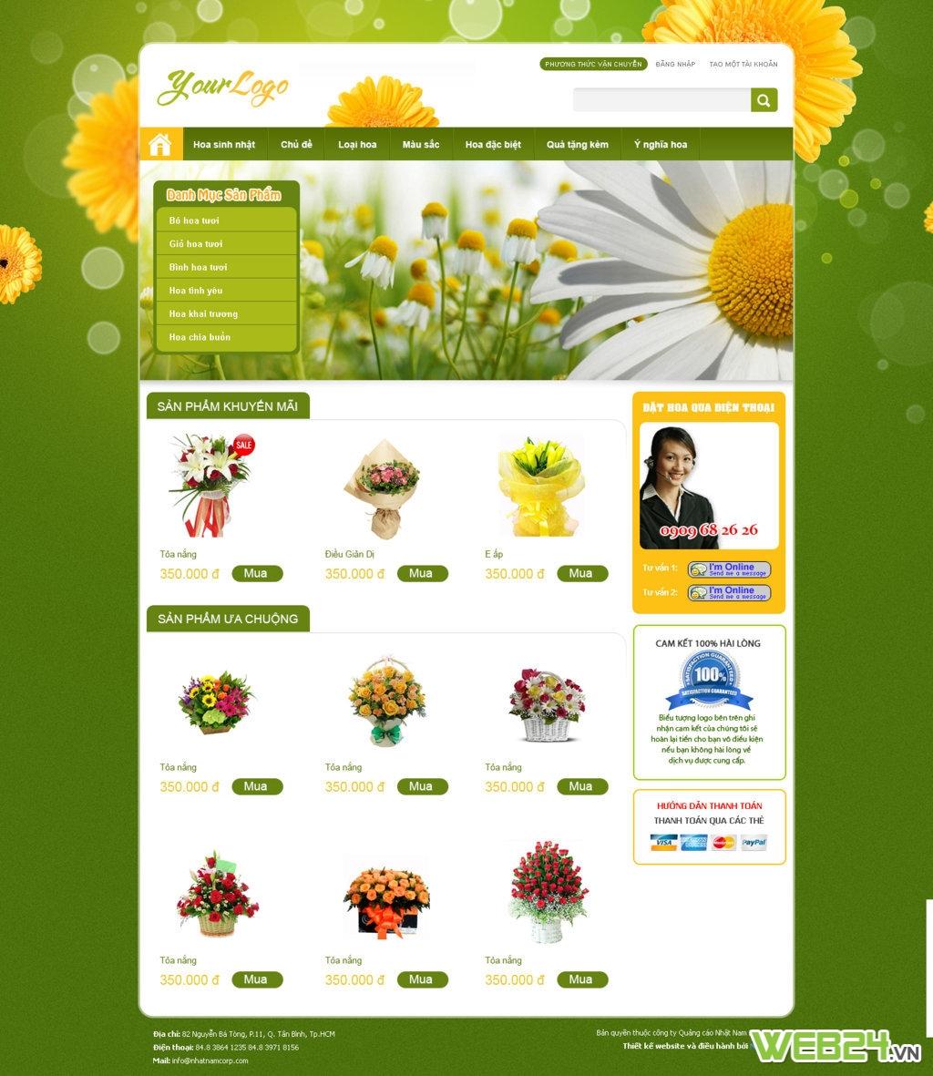Mẫu webiste bán hoa tươi