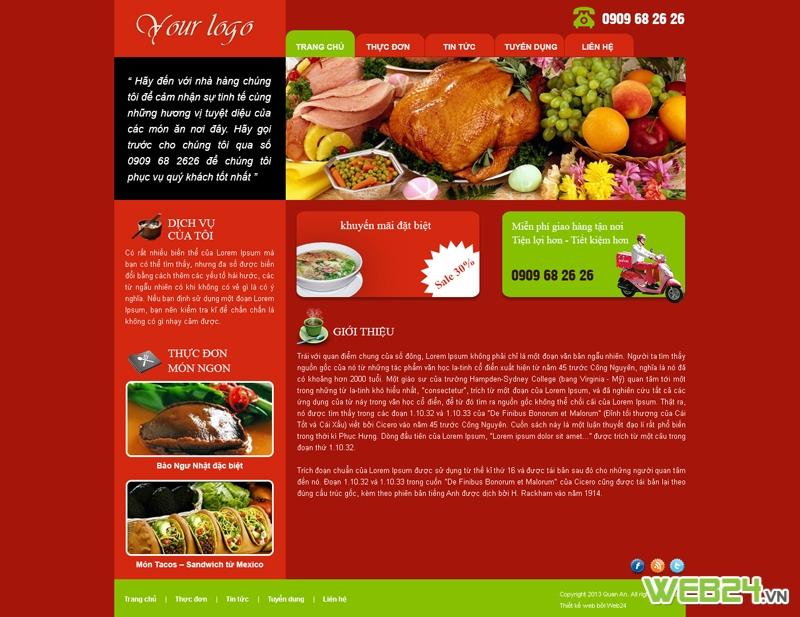 Mẫu website nhà hàng 02