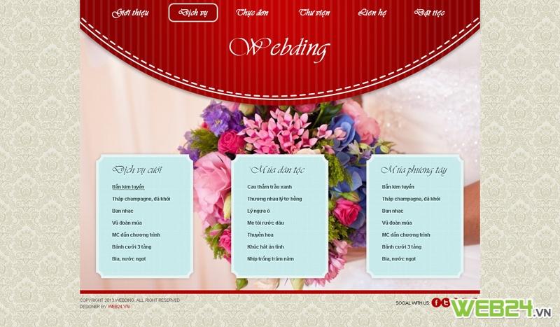 Mẫu website dịch vụ tiệc cưới