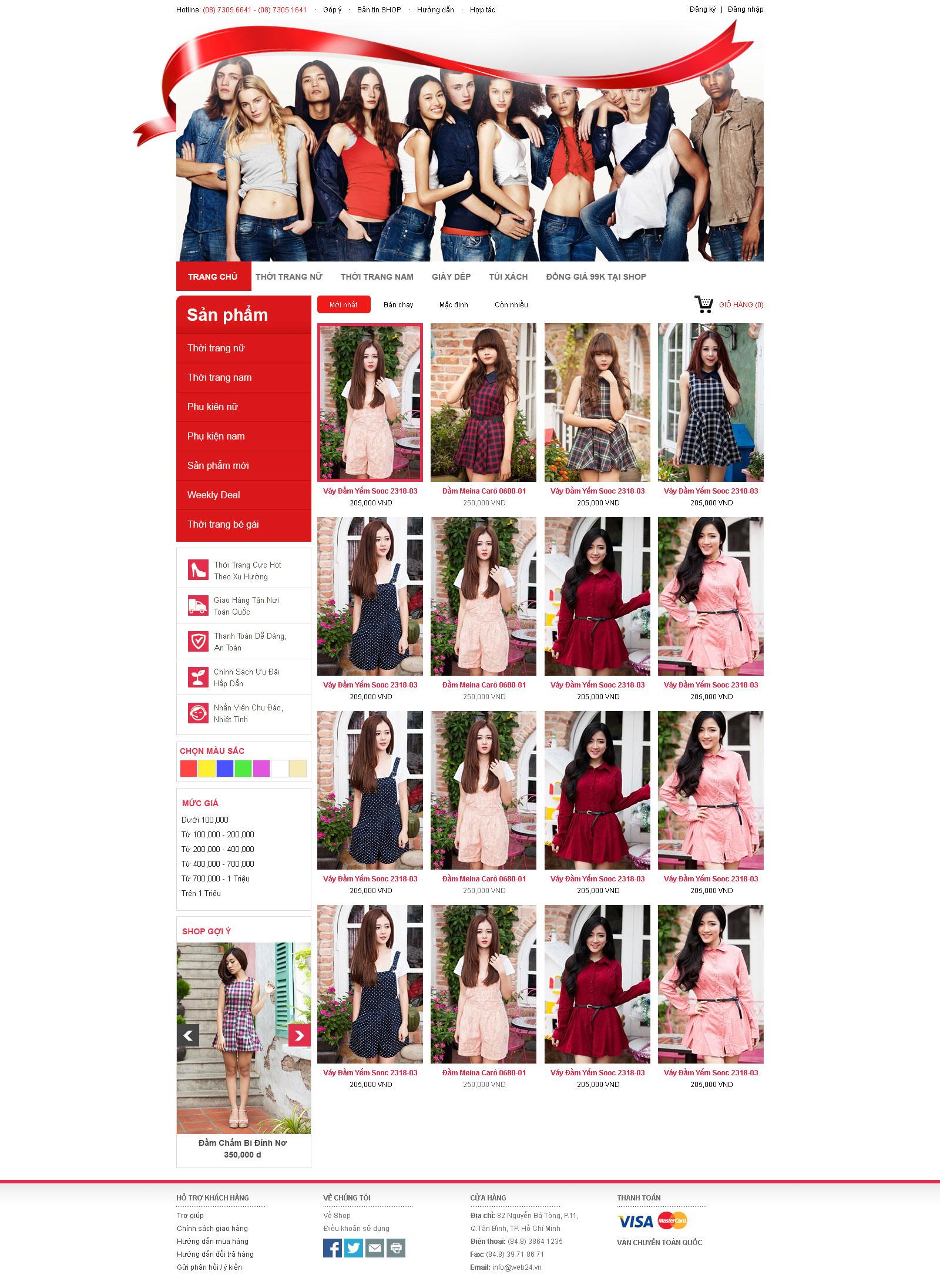 Mẫu web shop thời trang tổng hợp