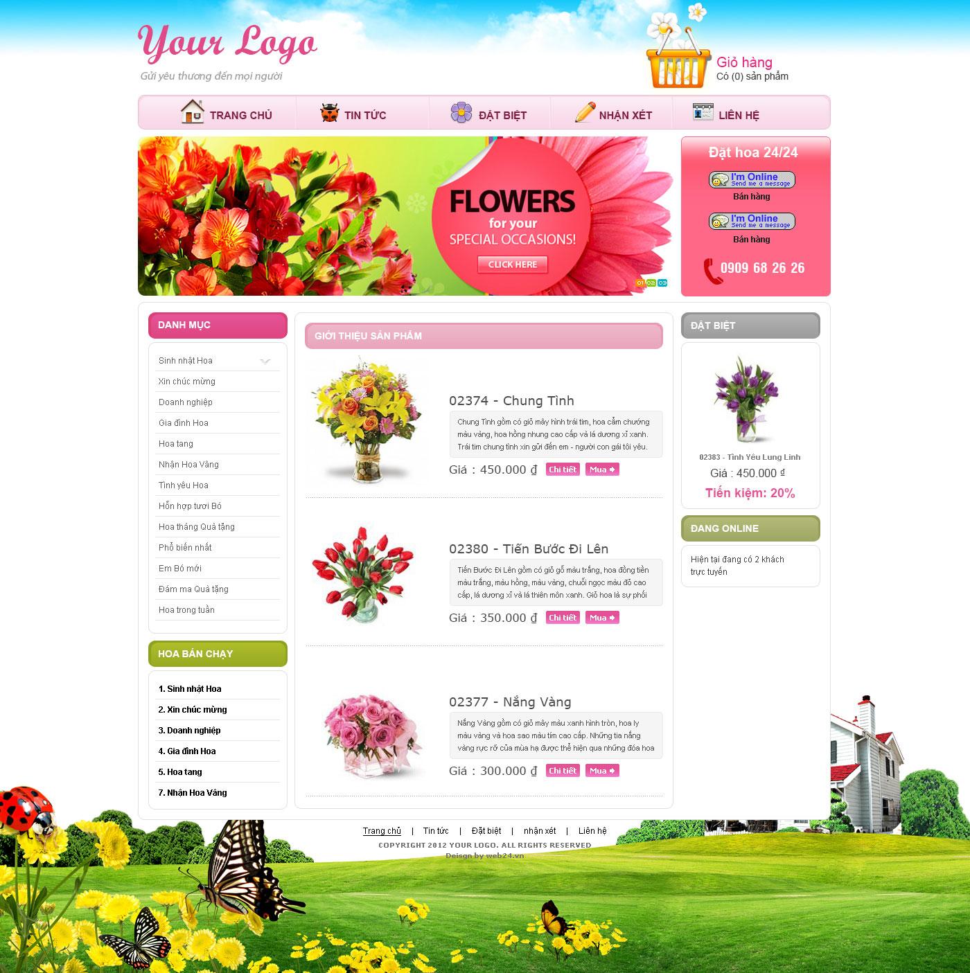 Mẫu webiste bán hoa tươi 02