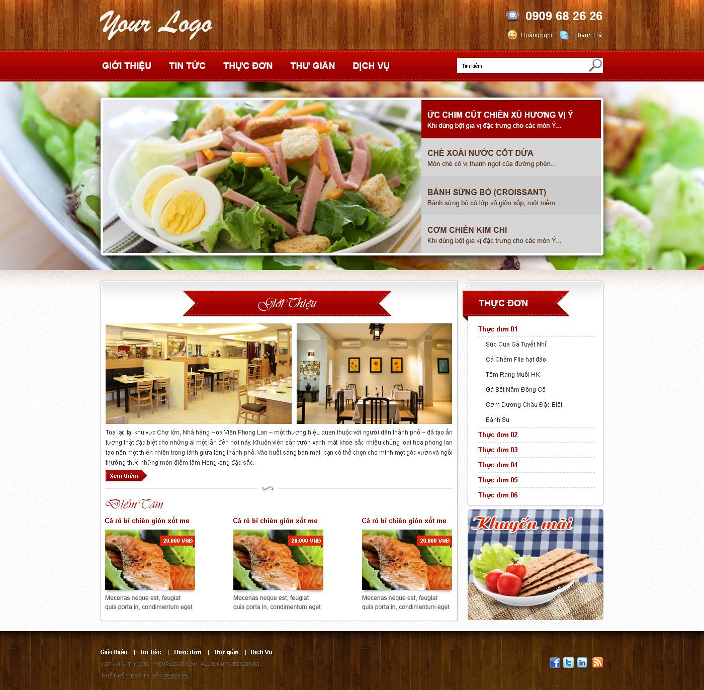 Mẫu thiết kế web nhà hàng 03