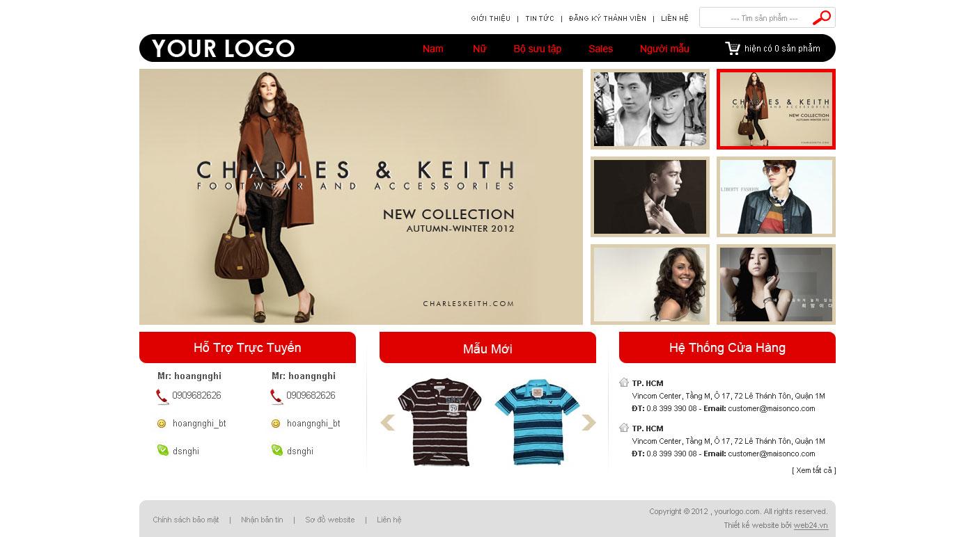Mẫu web shop thời trang tổng hợp 02