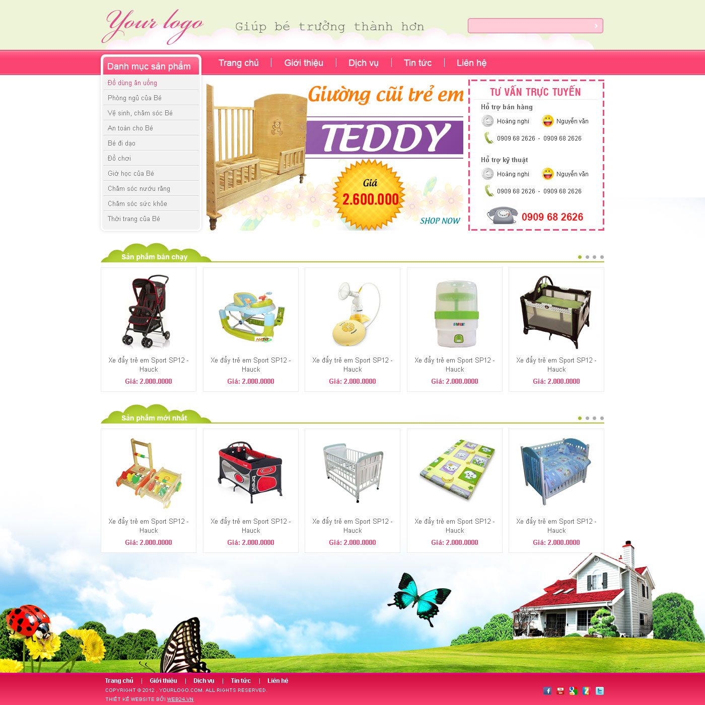 Mẫu web shop thời trang trẻ em