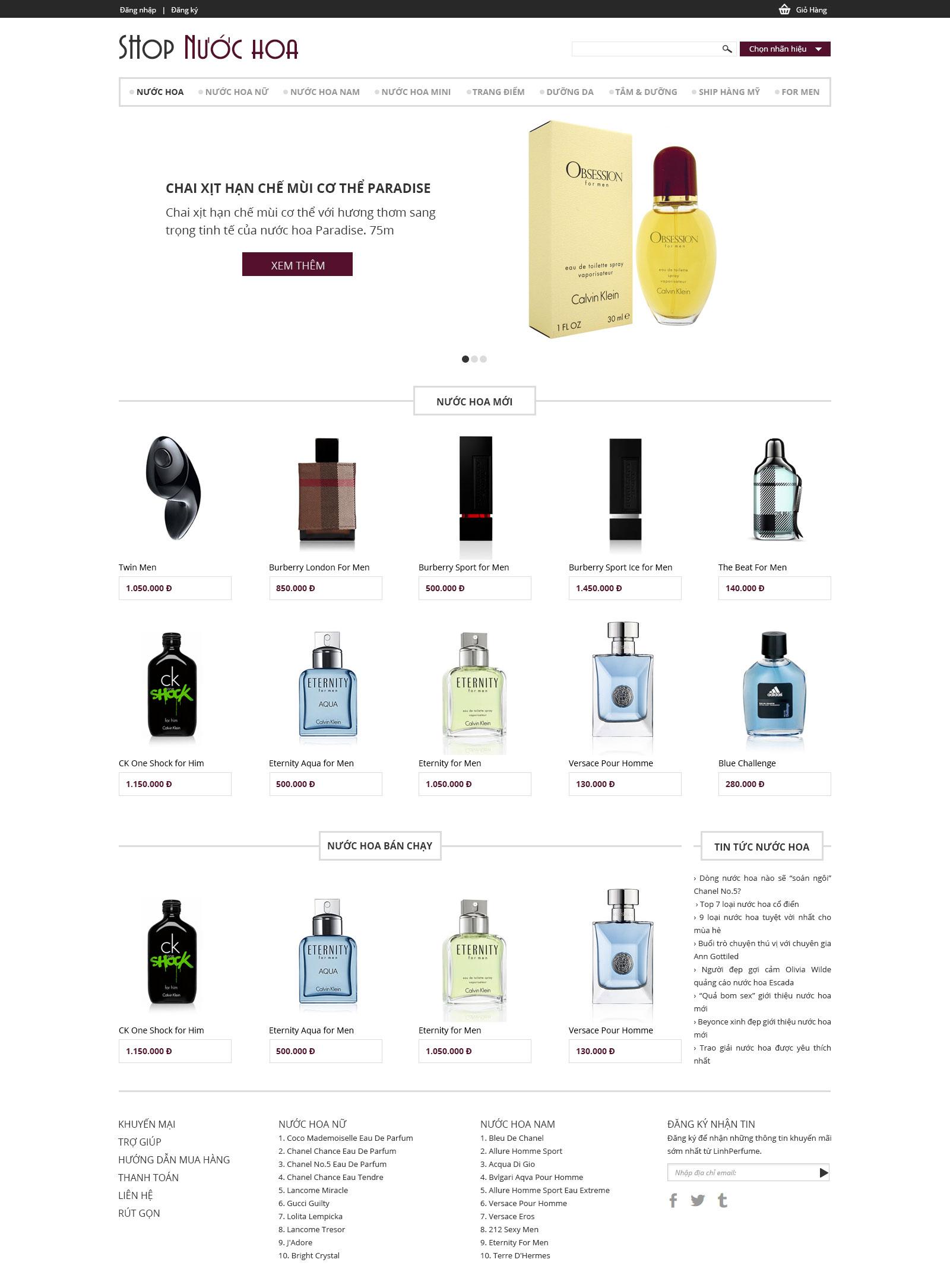 Mẫu web shop nước hoa
