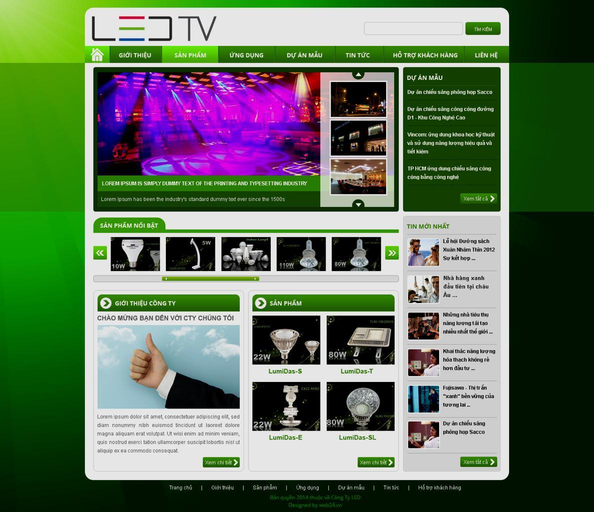 Mẫu web thiết bị đèn Led