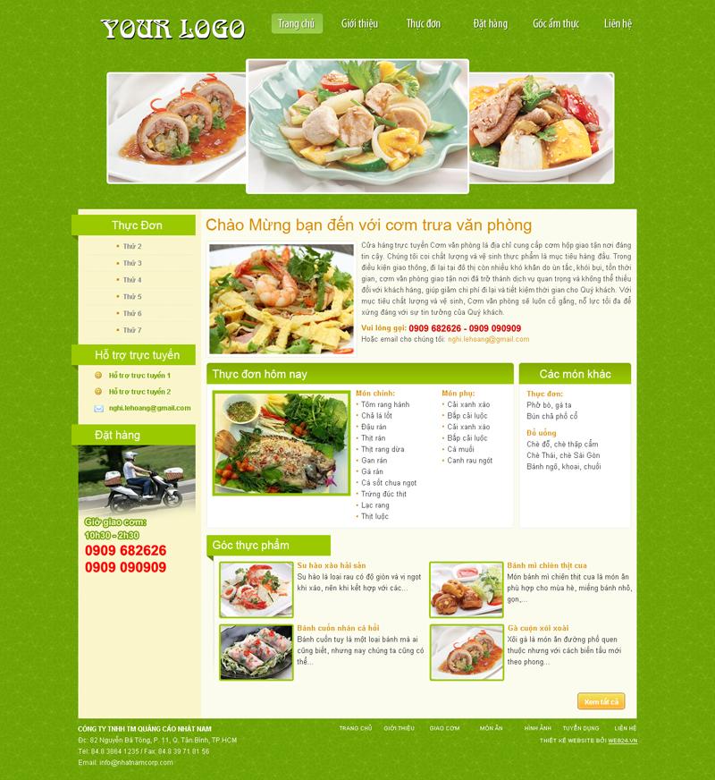 Website Quán ăn cơm trưa văn phòng