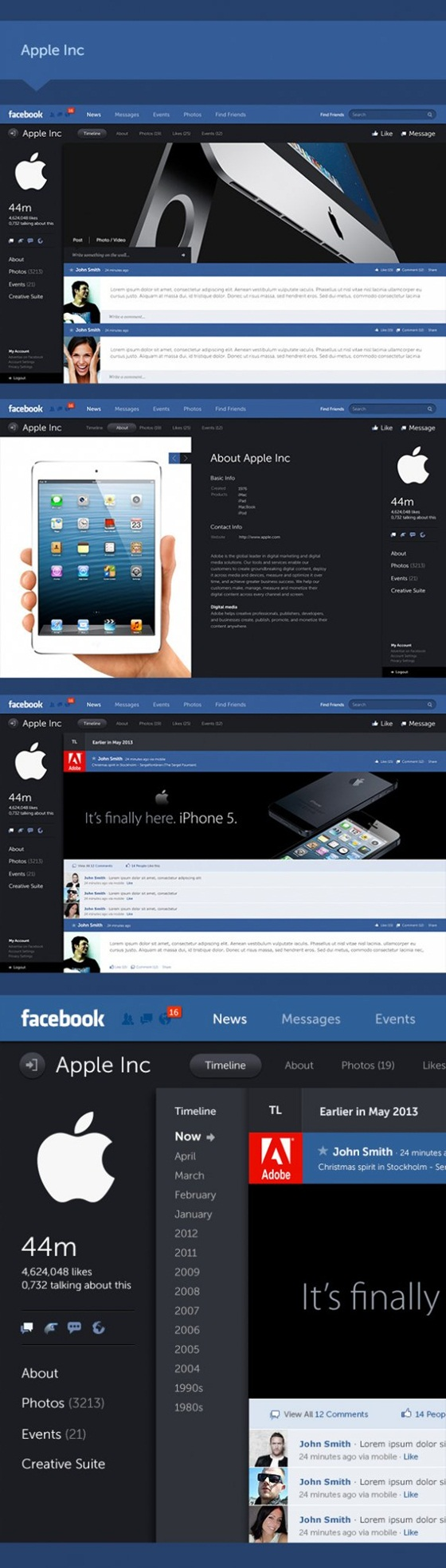 Facebook, thay đổi, giao diện mới, Timeline, Apple, Microsoft